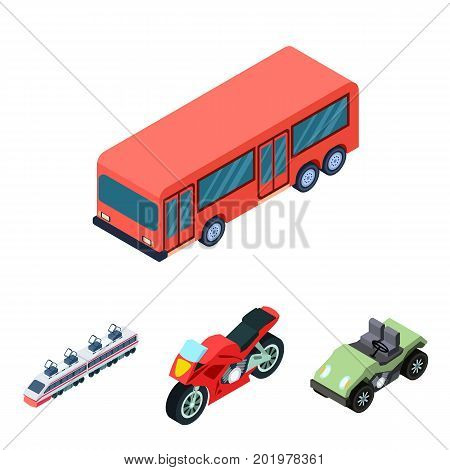 Motorcycle, golf cart, train, bus. Transport set collection icons in cartoon style vector symbol stock illustration .