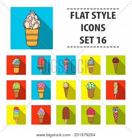 Ice cream set icons in flat design. Big collection of ice cream vector symbol stock illustration