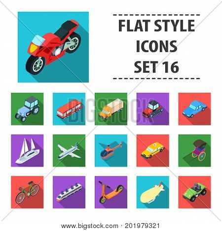 Transportation set icons in flat design. Big collection of transportation vector symbol stock illustration