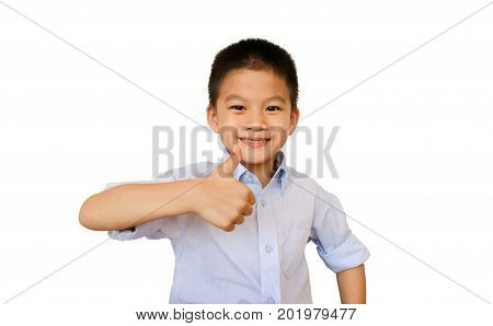 Asian boy with thumb up.Happy asian boy and like hand isolated on white background with clipping path.