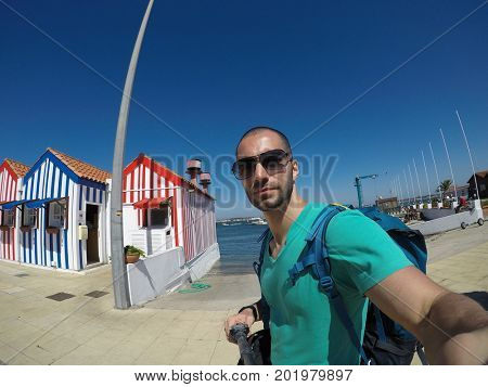Young Traveller Taking a Selfie in Aveiro, Portugal