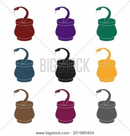 Snake in basket icon in black style isolated on white background. Arab Emirates symbol vector illustration.