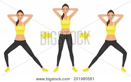 Young pretty woman make lunge exercise with hands behind head. Fit girl in leggings and crop top. Vector illustration