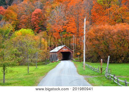 Cilley covered bridge in Tunbridge Vermont