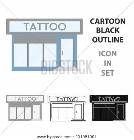 Tattoo salon building parlor icon cartoon. Single tattoo icon from the big studio cartoon.