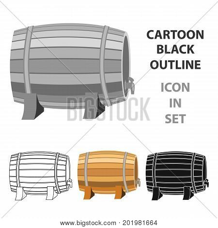 Barrel of wine icon in cartoon design isolated on white background. Wine production symbol stock vector illustration.