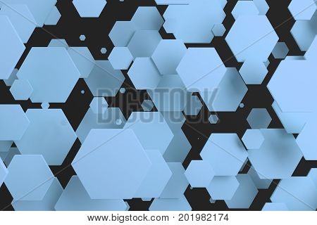 Blue Hexagons Of Random Size On Black Background