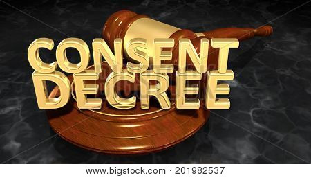 Consent Decree Law 3D Illustration