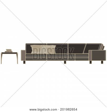 Vector modern sofa flat icon isolated. Furniture luxury front view elegant. Apartment color colorful comfort decor decorate decoration decorative elegance elegant fabric. Floor home room loft.