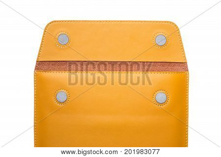 Close up of leather envelope on white background