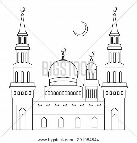 The mosque with domes and minarets with a crescent moon above it flat style vector illustration with a thin line