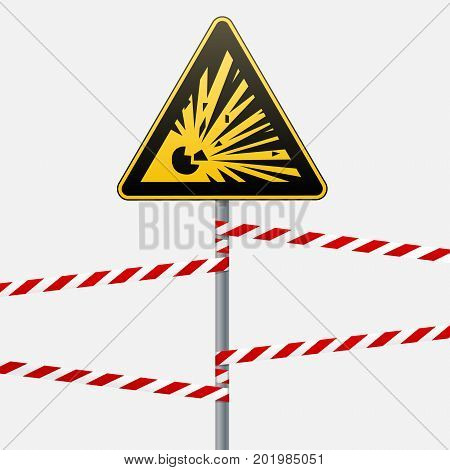 Caution - danger Warning sign safety. Explosive substances. yellow triangle with a black image. The sign on the pole and protecting ribbons. Vector Image.