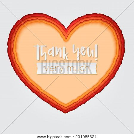 Layered paper art. Paper cut heart shapes. 3D illustration, abstract background. Thank you greeting, postcard for romance and love. Modern origami design template.