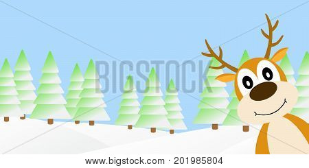 Vector illustration of deer in the winter forest.