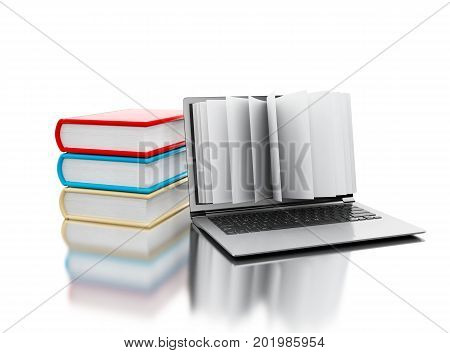 3D Laptop Computer With Book Pages