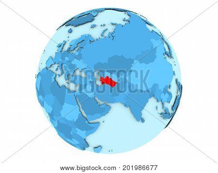 Turkmenistan On Blue Globe Isolated
