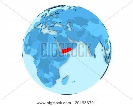 Yemen On Blue Globe Isolated