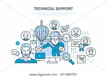 Technical support, call center, consultation and communication, information technology, system consulting clients. First computer aid. Illustration thin line design of vector doodles.