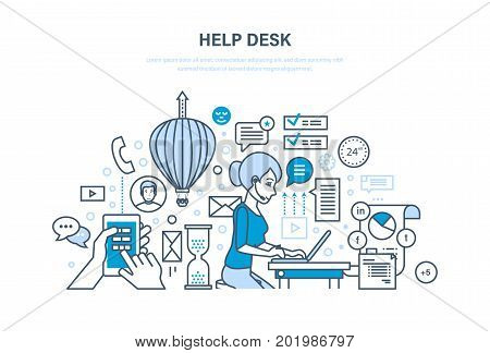 Help desk concept. Technical support, system consulting clients, means of communication and modern information technologies. Illustration thin line design of vector doodles, infographics elements.
