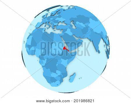 Eritrea On Blue Globe Isolated