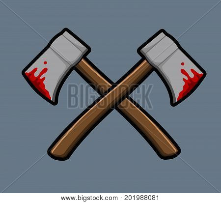 Vector illustration of cross bleeding ax .
