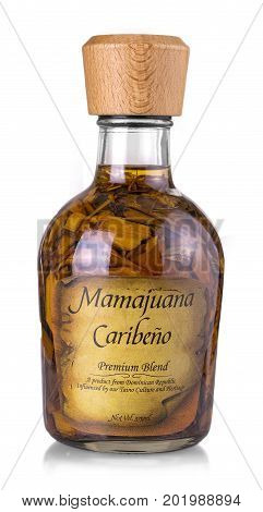 CHISINAU MOLDOVA- August 23 2017: Isolated Mamajuana Bottle The Dominican Republic Home Made Aphrodisiac Drink Made of Medicinal Roots