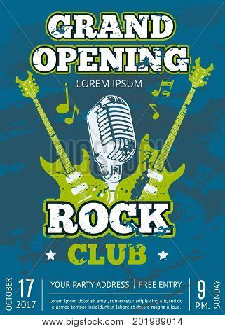 Retro vector opening rock music club vintage poster with shabby music guitars and microphone logo on grunge texture illustration