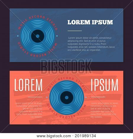 Vector vintage flyers with sound record studio, vinyl music shop, club logo with vinyl record on grunge texture. Vintage studio musical illustration