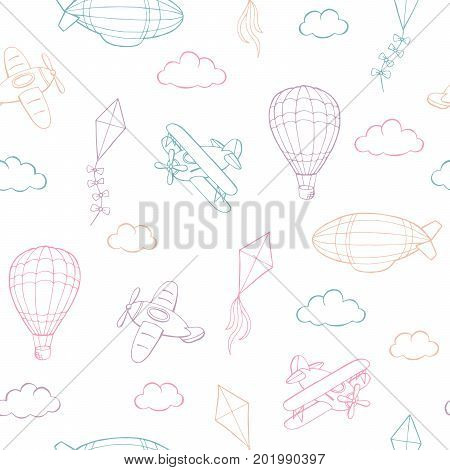 Flying airplane balloon kite cloud graphic color sketch seamless pattern illustration vector