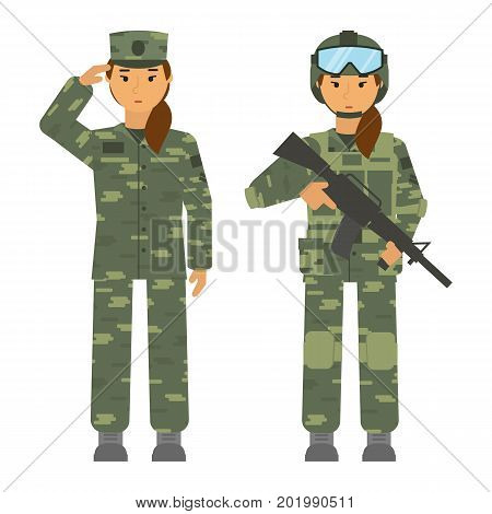 Vector soldier set woman with weapon isolated on white background. Saluted soldier woman. Armed soldier young woman with helmet and rifle