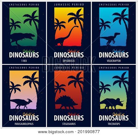 Posters Collection World Of Dinosaurs. Prehistoric World. T-rex, Diplodocus, Velociraptor, Parasauro
