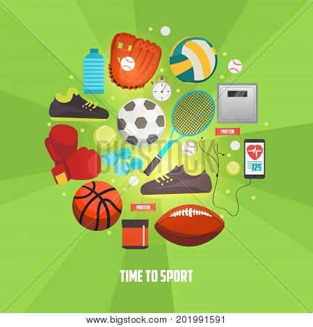 Sport balls and gaming items icons set. Vector concept with sport equipment for competitive games. Sport creative illustration.