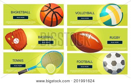 Sports balls and equipment icons of gaming accessories. Football basketball tennis baseball rugby voleyball vector banners. Creative sport games concept banners.