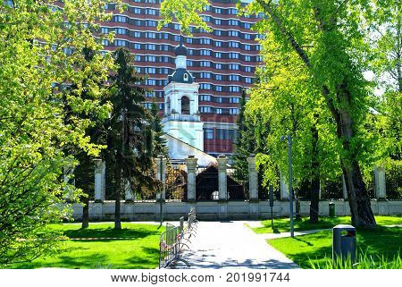 Orthodox Church near the Tretyakov gallery in spring, Moscow