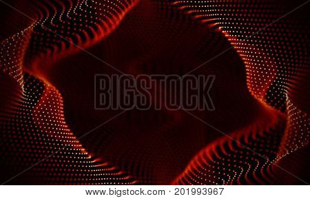 Abstract Black Geometrical Background . Connection structure. Science background. Futuristic Technology HUD Element . Connecting red dots and lines . Big data visualization and Business .