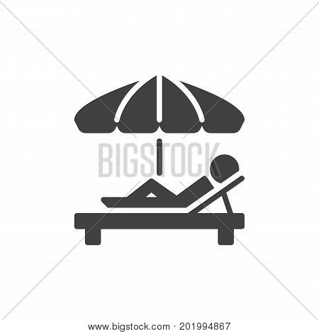 Sunbathe icon vector, filled flat sign, solid pictogram isolated on white. Parasol and sun lounger symbol, logo illustration. Pixel perfect vector graphics