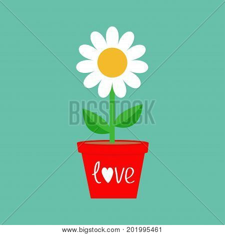 Daisy in red pot. Camomile icon. White chamomile. Cute flower plant collection. Growing concept. Flat design. Green background. Isolated. Love card. Vector illustration