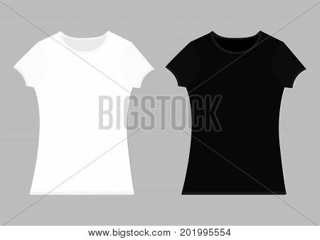 T-shirt template set. White black color. Man woman unisex model. Two t shirt mockup. Front side. Flat design. Isolated. Gray background. Vector illustration