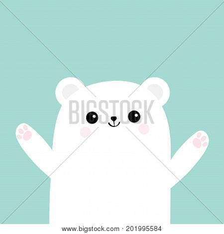 Polar white little small bear cub. Reaching for a hug. Cute cartoon baby character icon. Open hand ready for a hugging Arctic animal collection. Flat design Winter blue background Isolated. Vector