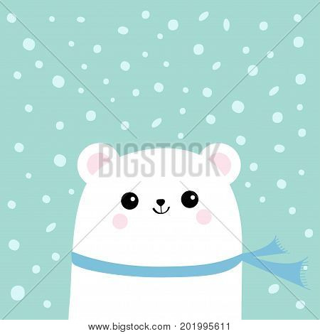 Polar white little small bear cub wearing scarf. Head face with eyes and smile. Cute cartoon baby character. Arctic animal collection. Flat design Winter blue background Snow flake. Isolated. Vector