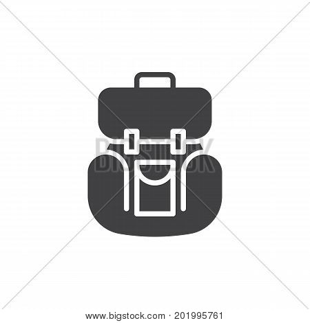 Backpack icon vector, filled flat sign, solid pictogram isolated on white. Rucksack symbol, logo illustration. Pixel perfect vector graphics