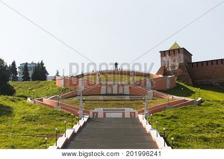 Nizhny Novgorod city, Russia. A panoramic view of the Chkalov Staircase on the background of the Novgorod Kremlin.