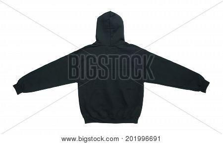 spread blank hoodie sweatshirt color black back view on white background