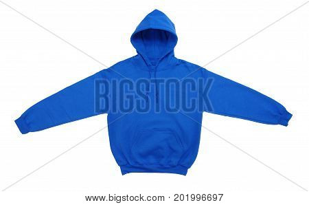 spread blank hoodie sweatshirt color blue front view on white background
