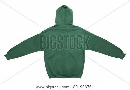 spread blank hoodie sweatshirt color green back view on white background