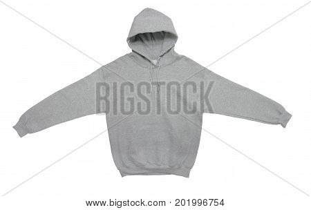 spread blank hoodie sweatshirt color grey front view on white background