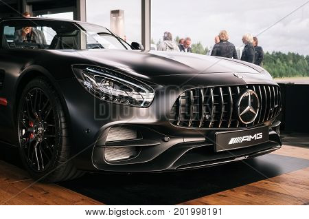 Minsk Belarus - August 26 2017: front side of Mercedes Benz AMG GT 50 Edition sports car. A new 2017 supercar designed to celebrate the 50th anniversary of the AMG company