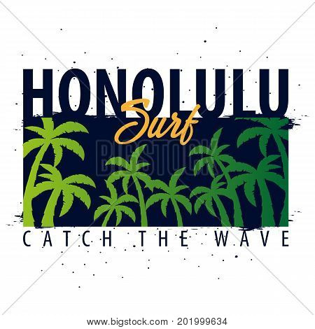 Honolulu Surfing Graphic With Palms. T-shirt Design And Print.