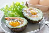 Baked smoked salmon egg in avocado ketogenic keto low carb diet food poster