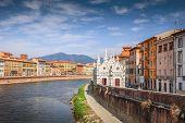 Church Santa Maria della Spina on the Arno river embankment in Pisa Italy poster